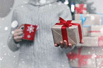 gift giving hand christmas