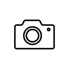 thin line camera icon on white background