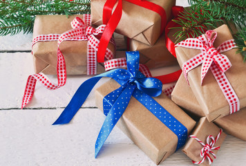 Happy New Year - Christmas background with gift boxes.