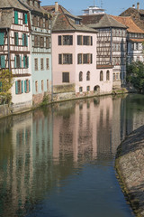 Houses along a canal in la Petite France, the historical centre of Strasbourg