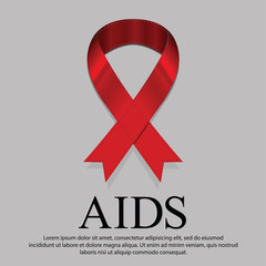 Red ribbon mourning sign for world AIDS day on 1 december every