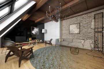 Wohnzimmer in der Mansarde (Illustration)