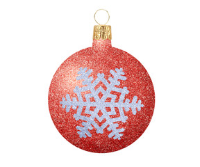 Red Glitter Christmas ball with snowflake isolated on white back