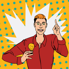 Pop art comic style illustration with man showing lamp