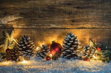 Weihnachten Lichter Stimmung mit Dekoration rustikal traditionell