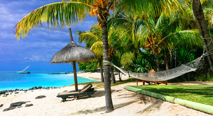Relaxing tropical holidays with beach chairs and hammock. Mauritius island Wall mural