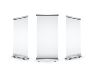 Three blank realistic roll-up banners with shadow on white