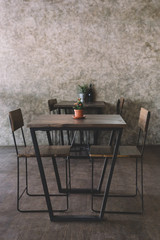 Coffee shop cafe Interior with wood table,blank space.