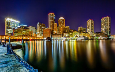 Boston Pier Downtown Skyline Night