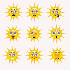 Sun emoticon emoji collection funny yelloe smily