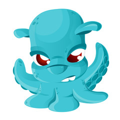 Cartoon Grimpoteuthis isolated on white background. Vector illustration of deep-sea octopus Grimpoteuthis. Cthulhu.