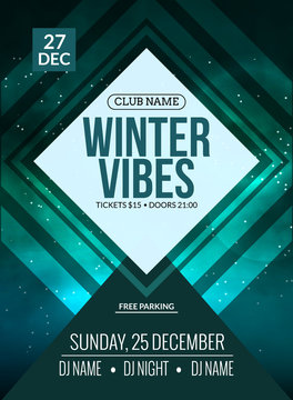 Dance party, dj battle poster design. Winter disco party. Music event flyer or banner illustration template