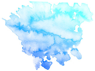 Abstract blue watercolor on white background.This is watercolor splash.It is drawn by hand.