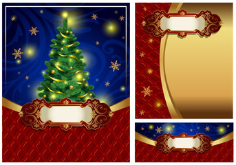Set of a bright Christmas greeting cards