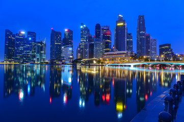 Singapore cityscape of the financial district on blue hour after sunset, Singapore,singapore cityscape,cityscape of asia,cityscape on around bay garden singapore