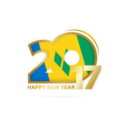 Year 2017 with Saint Vincent and the Grenadines Flag pattern.