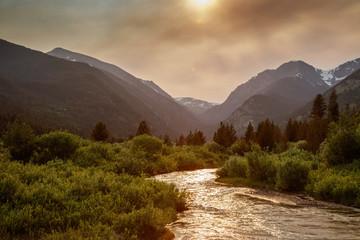 Back-lit Mountain Stream