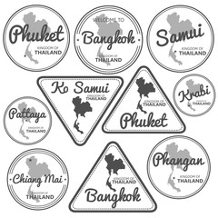 stamp with Thailand map vector