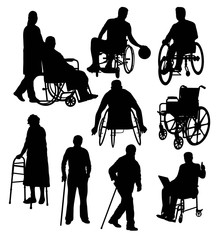Silhouettes Activity People with Disabilities, art vector design