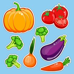 vegetables vector set. Patch, sticker isolated on blue background. Cute Pumpkin, carrot, onion, eggplant, broccoli, tomatoes. Comics cartoon style. Vegan healthy eating, vegetarian organic food, diet