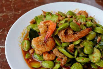 Sato fried with Shrimp, Thai food.