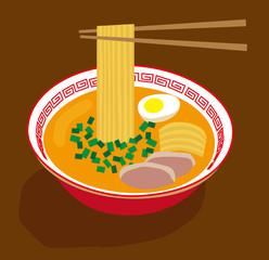 Japanese noodle soup vector