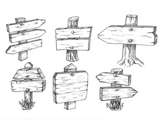 Set of wooden signposts. Hand-drawn design elements.