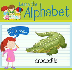 Flashcard letter C is for crocodile