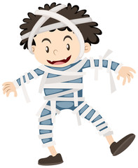 Happy boy dressed as mummy for halloween