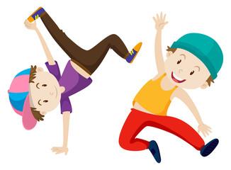 Two boys doing breakdance