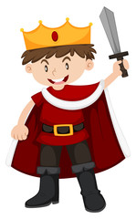 Kid in king costume with sword