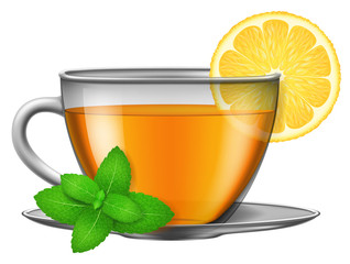 Cup of green herbal tea with mint and lemon. Vector illustration.