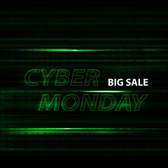 Cyber monday binary code design with motion text in vector.