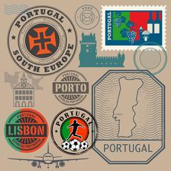 Travel stamps or symbols set, Portugal theme