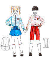 illustration little schoolboy and schoolgirl sketch design uniforms with technical drawing