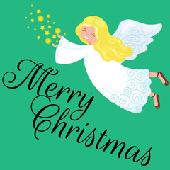 christmas holiday flying angel with wings and stars like symbol in Christian religion or new year vector illustration