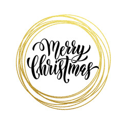 Golden decoration ornament for Merry Christmas card design