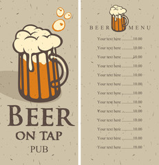 menu with picture beer glass on tap and price