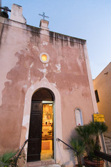 small church of Santa Maria Annunziata, tiny XVI  century building, located in the port of Castellammare del Golfo - Sicily