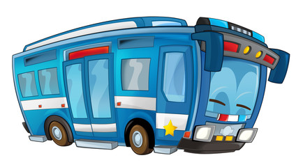 Cartoon police car - bus - isolated background - illustration for children