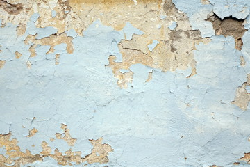 Decrepit White Dirty Plaster Wall. Old Cracked Structure Backgro