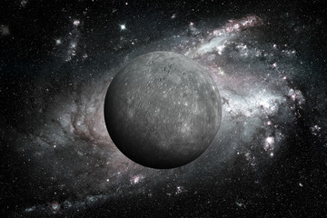 Planet Mercury. Outer space background.