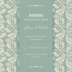 Wedding Invitation cards in an vintage-style green