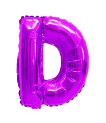 letter d from a balloon purple, violet