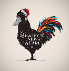 Symbolic picture of a rooster in a hat and with a Santa Claus beard. The comic image of a rooster - the symbol of the coming year.