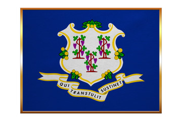 Flag of Connecticut, golden frame, fabric texture