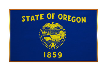 Flag of Oregon , golden frame, fabric texture