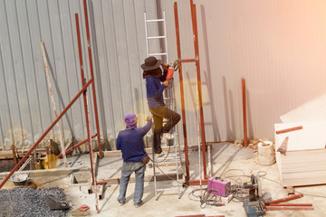 Workers in construction site