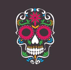 skull lotus flowers - macabre skull sugar tattoo style vector illustration stock