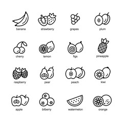 Fruit set of black icons isolated on white background